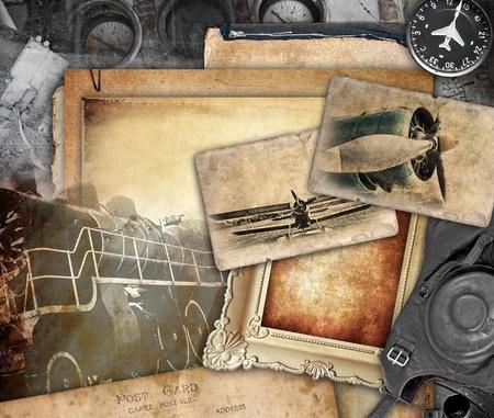 Retro aviation, vintage background Stock Photo
