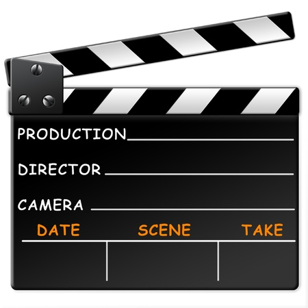 producer: Film slate, clapper isolated isolated on white background Stock Photo