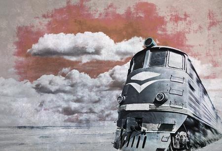 diesel: Grunge locomotive, old train