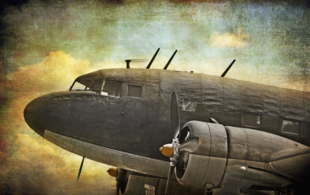 Old military aircraft, grunge background photo