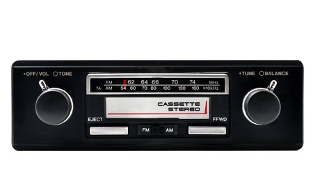 modulation: Old car radio, stereo cassette player isolated on white background Stock Photo
