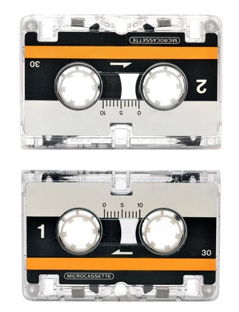 Microcassette isolated on white photo