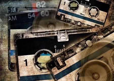 audio cassette: Grunge musical background Stock Photo