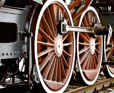 old train: Wheels of vintage steam locomotive Stock Photo