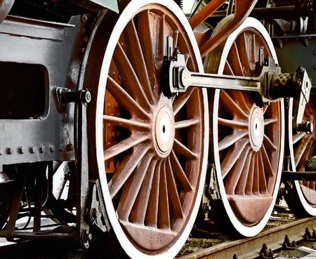 black train: Wheels of vintage steam locomotive Stock Photo