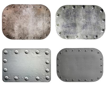 Metal plate isolated on white background, set Stock Photo - 12507489