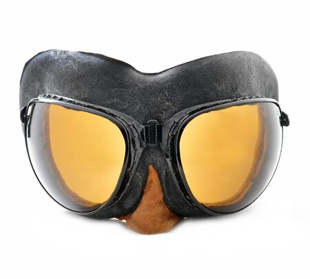 protecting spectacles: Pilot goggles, retro aviation glasses Stock Photo