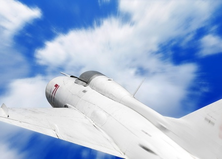 turbofan: Military aircraft, fighter jet and blue sky Stock Photo