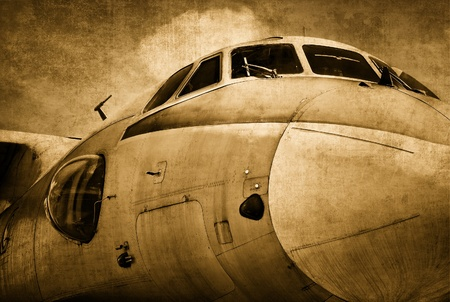 vintage airplane: Old military aircraft Stock Photo