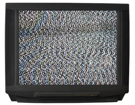 breakage: CRT TV isolated on white background Stock Photo