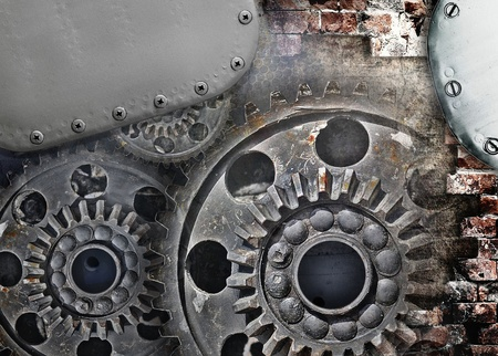 Mechanical gears, industrial grunge background photo