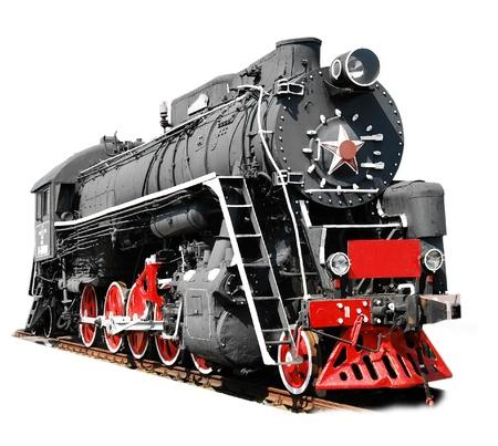 locomotora: Locomotora de vapor aislado en blanco