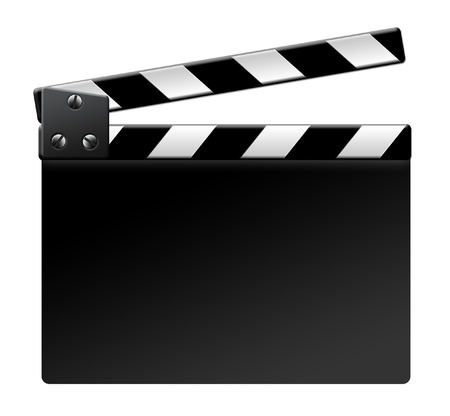 movie clapper: Film clapper isolated isolated on white background