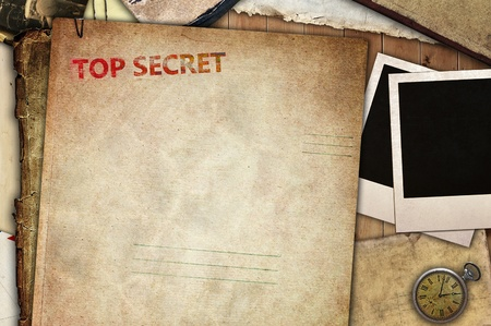 top secret: Vintage composition, folder for papers Stock Photo