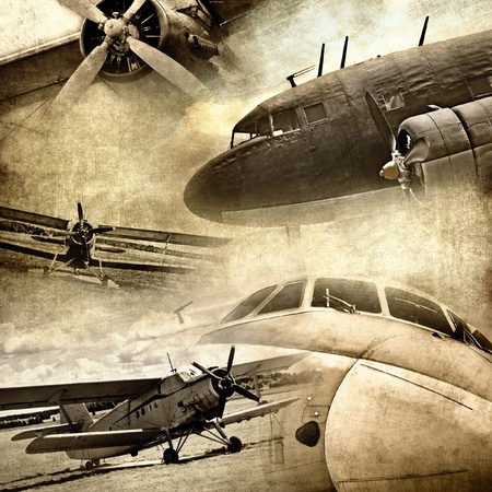 propellers: Retro aviation, grunge background