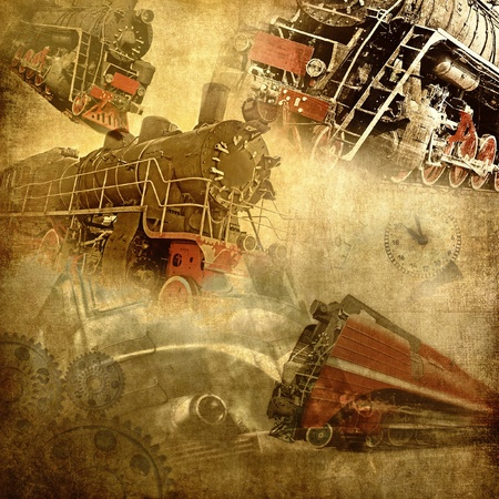 Retro technology, old trains grunge background photo