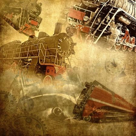 Retro technology, old trains grunge background