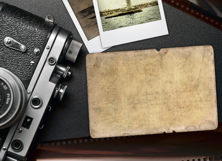 Old photo camera, retro frame with space for text photo