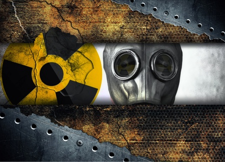 Abstract radioactivity, Man in gas mask photo
