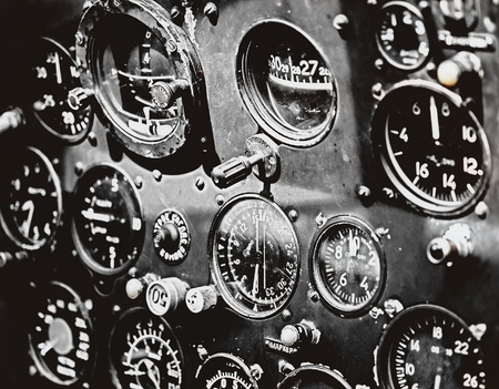 Military plane cockpit in grunge style Stock Photo