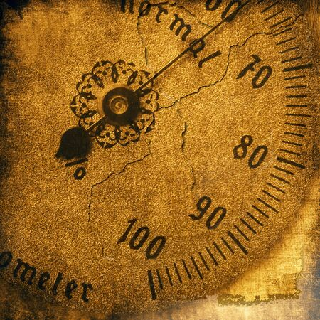 Vintage texture, old hygrometer close up photo
