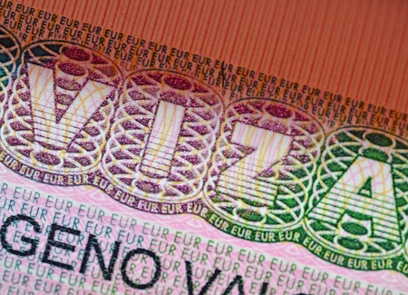 schengen: Visa, schengen visa in passport, close up