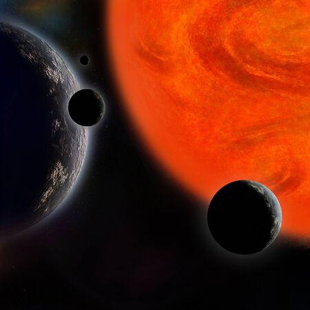 planetarnych: Układ planetarny i gwiazda Zdjęcie Seryjne