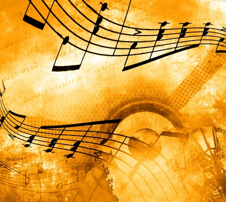 instrumental: Musical background with notes Stock Photo