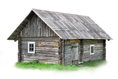 Old wooden house on white background