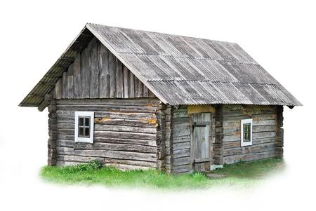 Oud houten huis op een witte achtergrond
