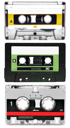 90s: Compact Cassettes isolated on white, set