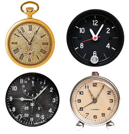 reloj antiguo: Antiguo reloj clásico aislado en blanco, ajuste Foto de archivo