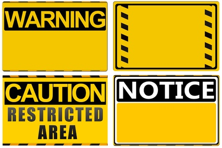 access restricted: Warning sign isolated on white, set Stock Photo