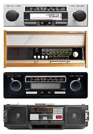 Old radio isolated on white, set photo