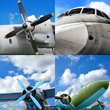 Retro aviation, old military aircraft set photo
