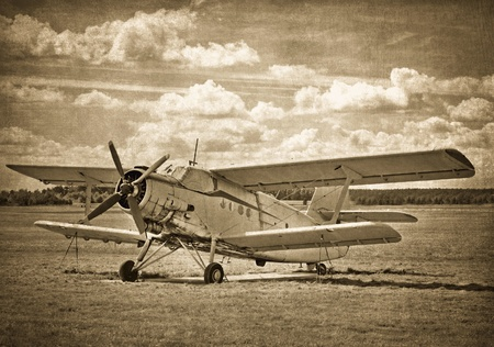 Old aircraft, biplane Stock Photo