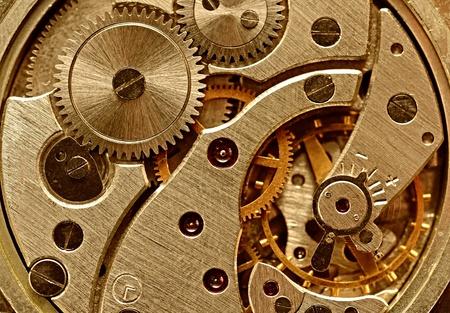 antique factory: Mechanical gears closeup