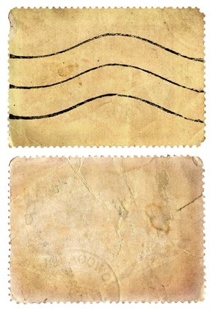 Old post stamps isolated, set photo