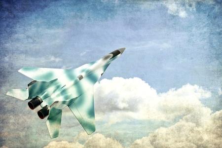 Military fighter jet, grunge illustration illustration