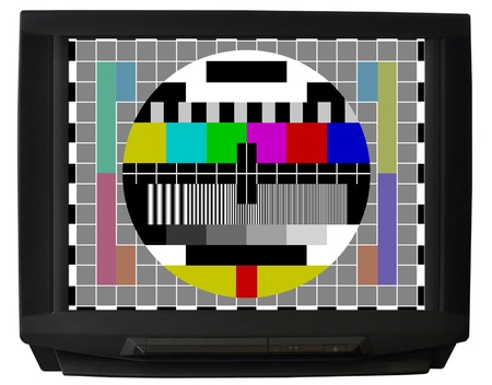 old television: TV with test signal screen isolated on white background Stock Photo