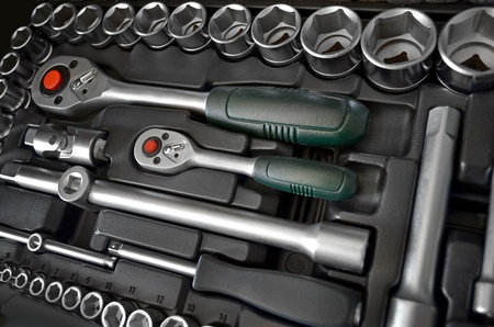 Toolbox close up, car tools kit photo