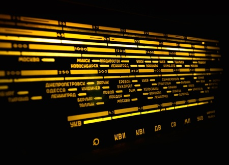modulator: Radio scale on black background, old radio close up Stock Photo