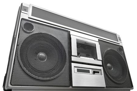 grabadora: Vintage Radio grabadora, aislado en blanco
