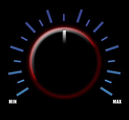 electronic music: Volume knob on black background