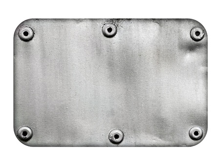 rivet: Metal plate with rivets isolated on white