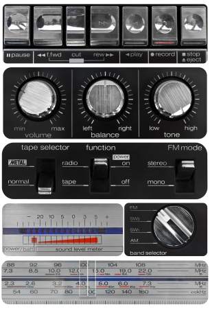 Vintage audio knobs set, amplifier, cassette deck, radio scale, volume meter Stock Photo