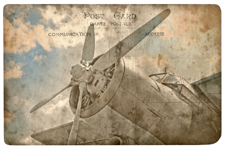 aircraft engine: Vintage military postcard isolated on white background, old biplane
