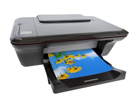 copier: Color printer isolated on white background Stock Photo