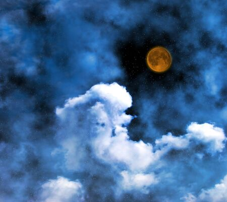 Nightly moon and clouds photo