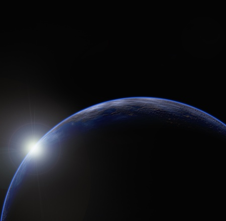 dawn: Planet Earth and sunrise